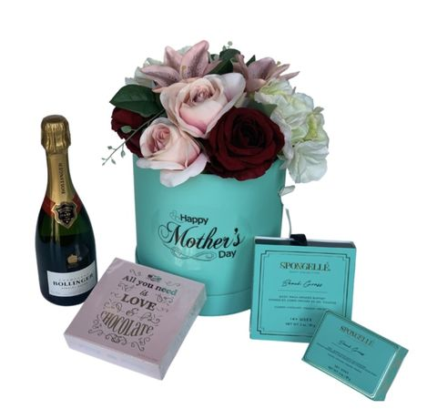 Tiffany,Flower,Hat,Box,and,Bollinger,Collection,Mother's Day Gift, Mum Gifts, Gifts