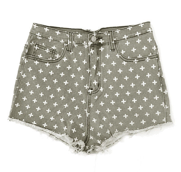 CROSS PATTERN DENIM SHORTS - product image