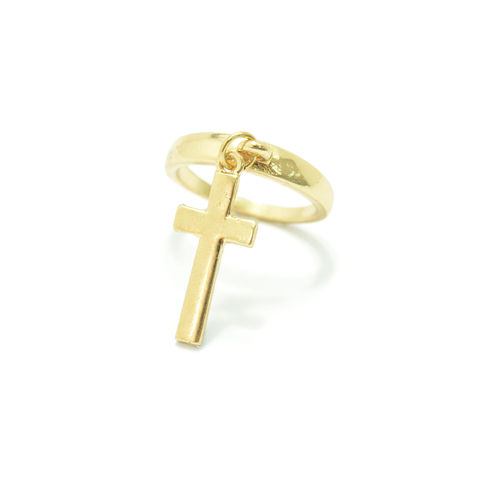 CROSS,DROP,RING,single cross ring, minimal cross ring, cross ring, cheap cross ring