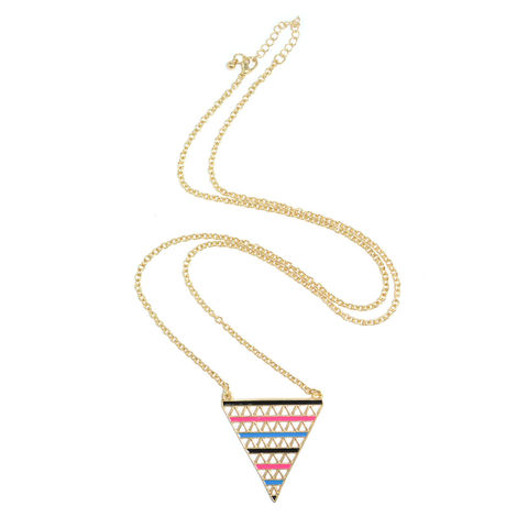 COLOURFUL,STRIPES,TRIANGLE,NECKLACE,COLOR TRIANGLE NECKLACE, GOLD TRIANGLE NECKLACE