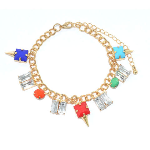 COLOURFUL,GEM,WITH,CLEAR,CRYSTAL,BRACELET,COLORFUL GEM BRACELET, CHUNKY GOLD BRACELET, GEM CHUNKY CHAIN