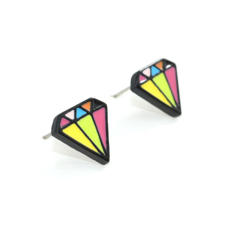 COLOURFUL DIAMOND SHAPE EARRINGS - product image