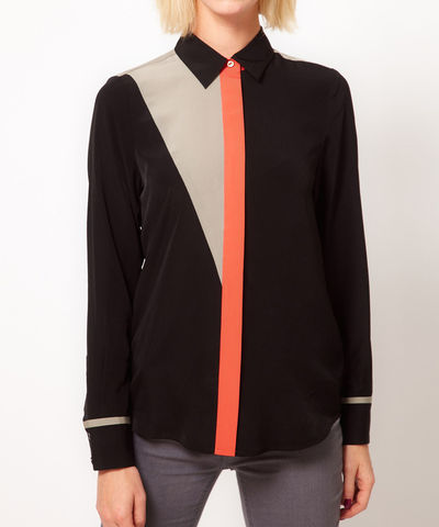 COLOUR,PLACKET,SHIRT,BLACK,Shirts/Blouse