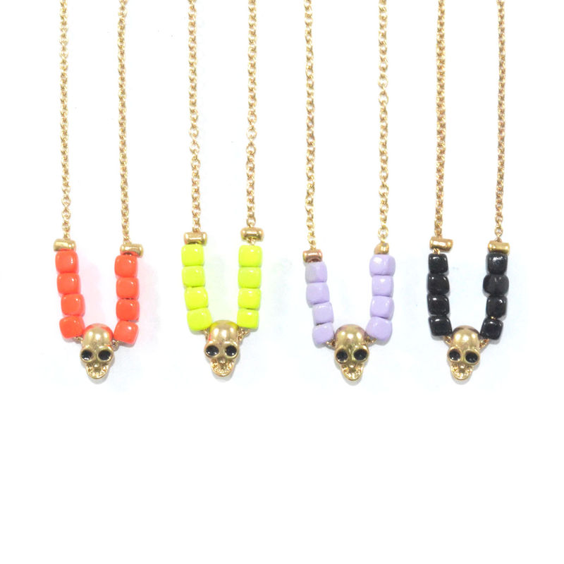 COLOUR BEADS WITH SKULL BRACELET - product image
