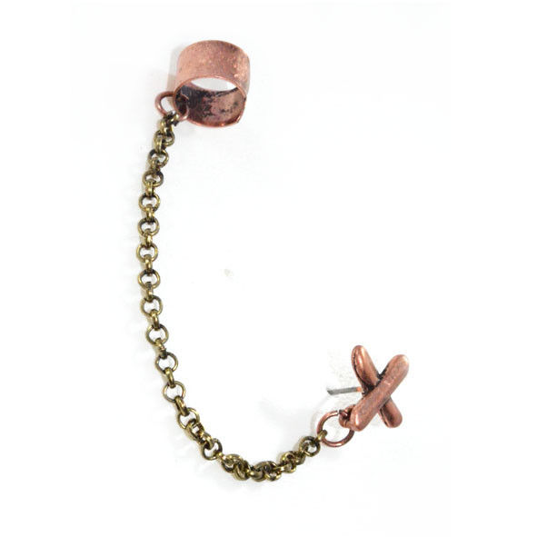 BRONZE CROSS EAR CUFF - product image