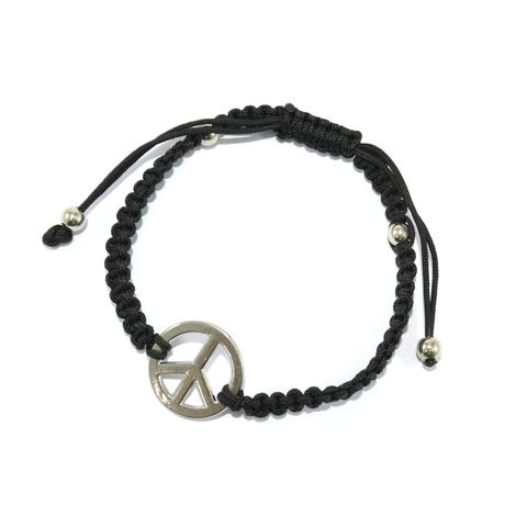 BLACK,WOVEN,STRING,WITH,PEACE,CHARM,BRACELET,vendor-unknown,Cart2Cart