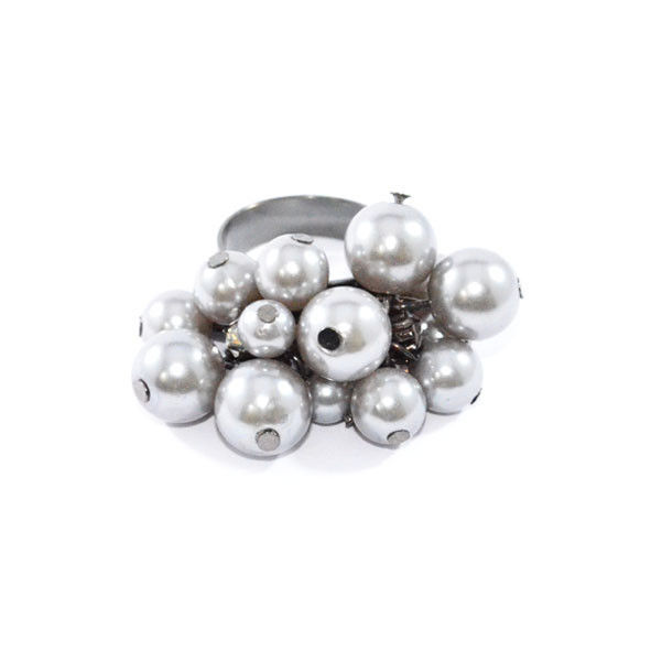 BLACK PEARLS WITH CRYSTALS RING - product image