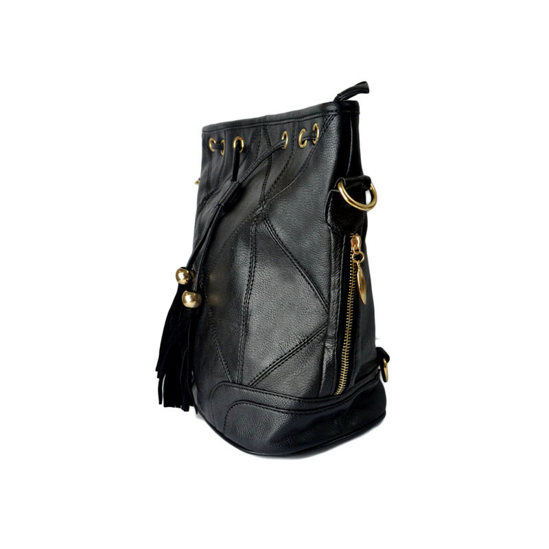 BLACK FAUX LEATHER SHOULDER BAG - product image
