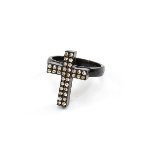 BLACK,CROSS,WITH,CRYSTALS,RING