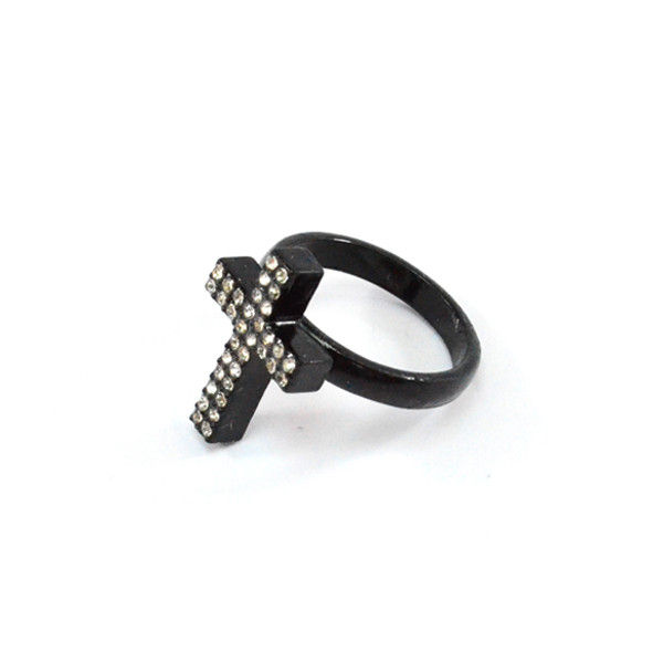 BLACK CROSS WITH CRYSTALS RING - product image