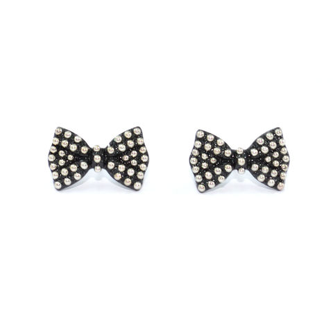 BLACK,BOW,WITH,DOTS,EARRINGS
