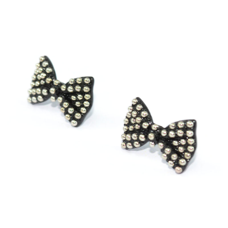 BLACK BOW WITH DOTS EARRINGS - product image