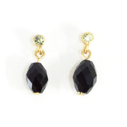 BLACK,AND,LIGHT,GREEN,CRYSTAL,DROP,EARRINGS