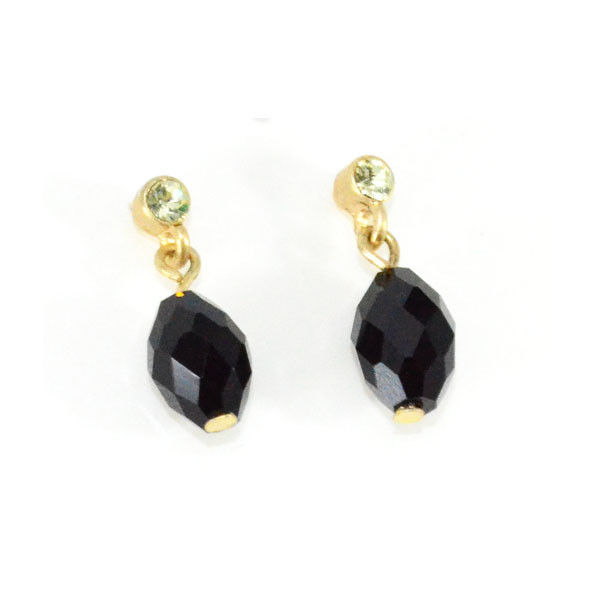 BLACK AND LIGHT GREEN CRYSTAL DROP EARRINGS - product image