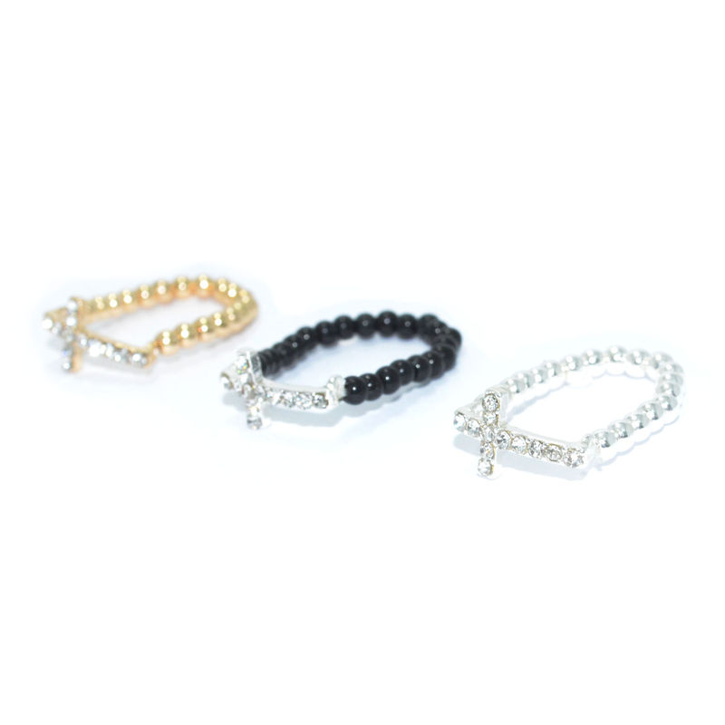 BEADS WITH CRYSTALS CROSS RING - product image