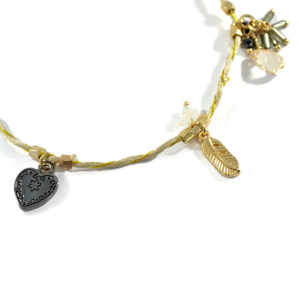 BEADS AND LEAVES MULTI CHARMS BRACELET - product image