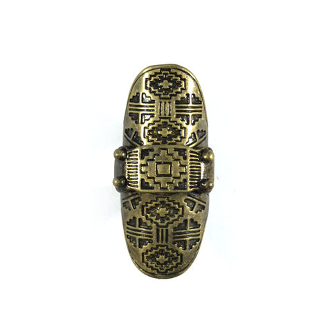 AZTEC,ENGRAVED,PATTERN,KNUCKLE,RING