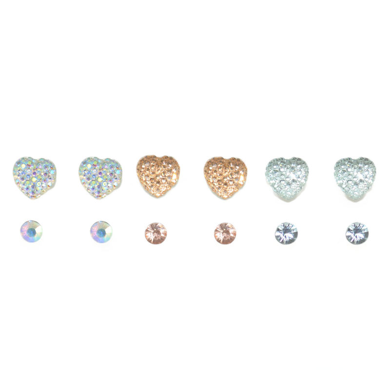IRREGULAR CRYSTAL EAR STUD SET - product image