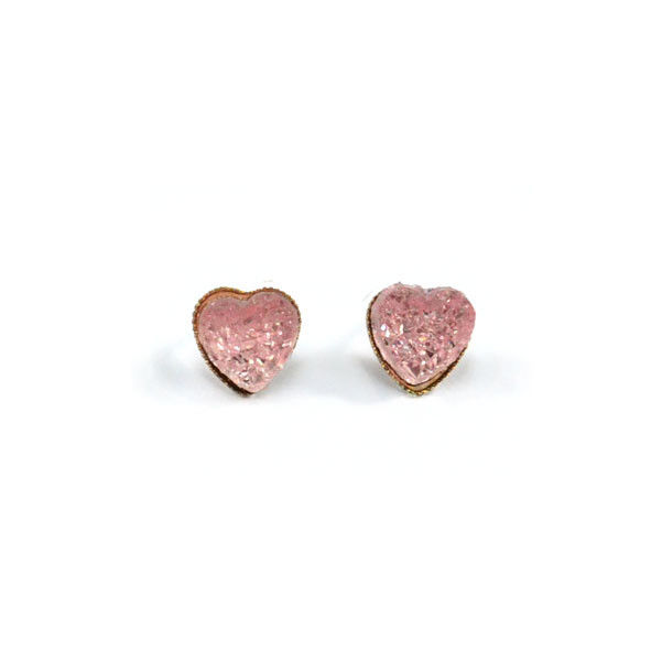 IRREGULAR COLOUR CRYSTAL HEART EARRINGS - product image