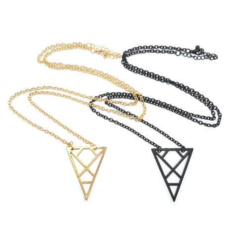 HOLLOW,PATTERN,TRIANGLE,NECKLACE