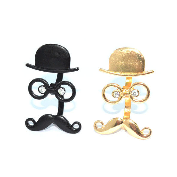 HAT AND GLASSES WITH MOUSTACHE DOUBLE RINGS - product image