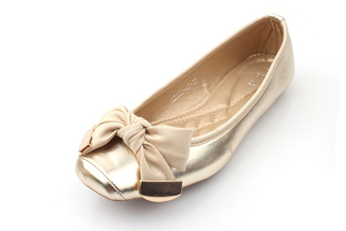 GOLDEN BOW BALLET STYLE FLATS - product image