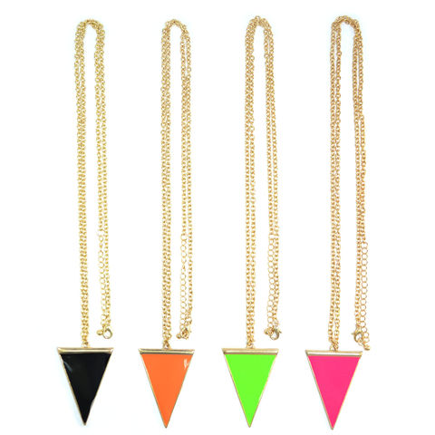 GOLD,TONE,WITH,TRIANGLE,NECKLACE