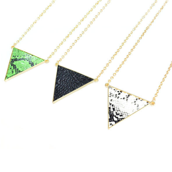 GOLD TONE TRIANGLE SNAKE PRINT NECKLACE - product image