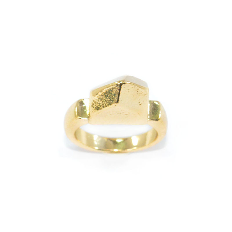 GOLD TONE SOLID POLYGON RING - product image