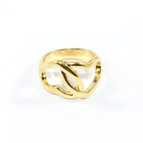 GOLD,TONE,JOINT,HEARTS,RING