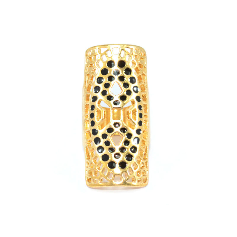 GOLD TONE HOLLOW PATTERN WITH BLACK DOTS DECORATION RING - product image