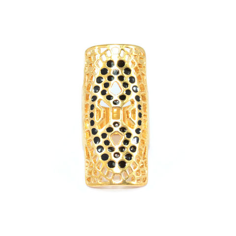 GOLD,TONE,HOLLOW,PATTERN,WITH,BLACK,DOTS,DECORATION,RING