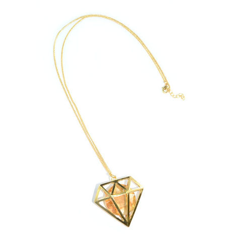GOLD,TONE,HOLLOW,DIAMOND,WITH,CRYSTAL,NECKLACE