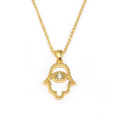 GOLD,TONE,HAMSA,NECKLACE