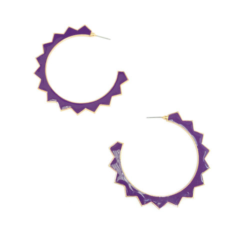 GOLD,TONE,EDGE,WITH,SHINNY,PURPLE,GEAR,EARRINGS