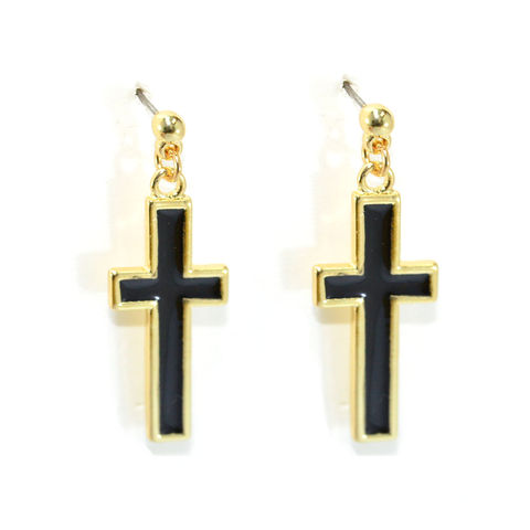 GOLD,TONE,EDGE,BLACK,CROSS,DROP,EARRINGS