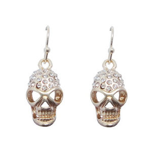 GOLD,TONE,CRYSTAL,SKULL,HEAD,EARRINGS