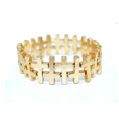 GOLD,TONE,CROSS,STRETCH,BRACELET