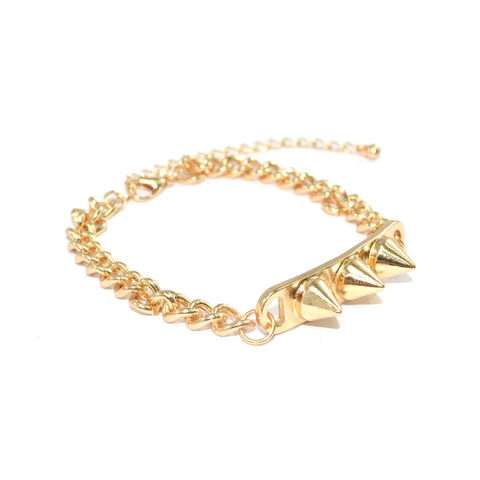 GOLD,TONE,CHAIN,WITH,TRIPLE,SPIKE,PENDANT,BRACELET,vendor-unknown,Cart2Cart