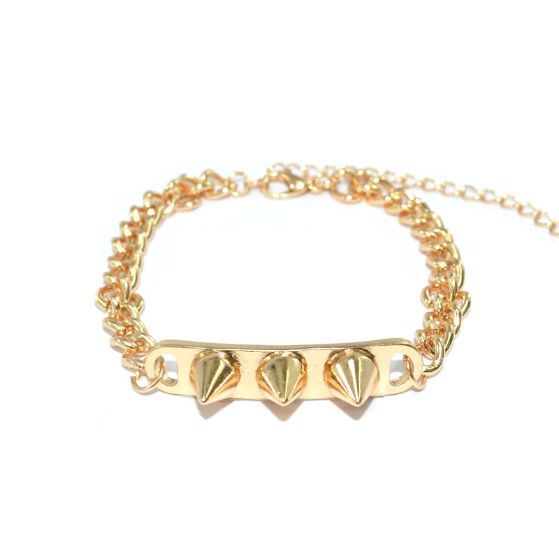 GOLD TONE CHAIN WITH TRIPLE SPIKE PENDANT BRACELET - product image