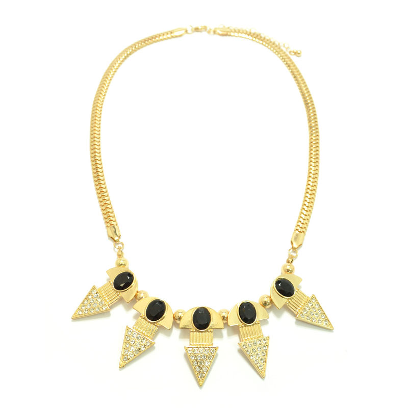 GOLD TONE CHAIN WITH CRYSTAL PENDANTS NECKLACE - product image