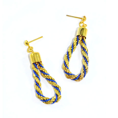 GOLD,TONE,CHAIN,WITH,BLUE,STRAP,EARRINGS