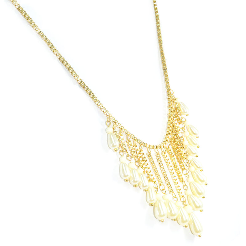 GOLD TONE CHAIN WITH BEADS AND PEARLS NECKLACE - product image