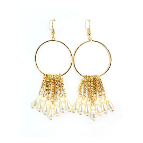 GOLD TONE CHAIN TASSELS WITH PEARL DROP EARRINGS - product image