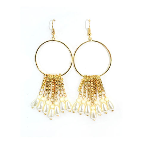 GOLD,TONE,CHAIN,TASSELS,WITH,PEARL,DROP,EARRINGS