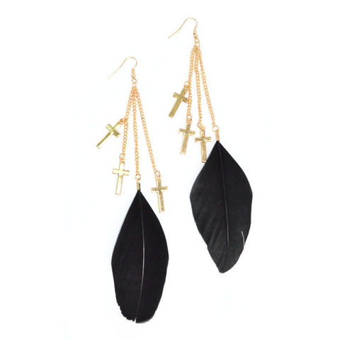 GOLD,TONE,CHAIN,AND,CROSS,WITH,BLACK,FEATHER,DROP,EARRINGS