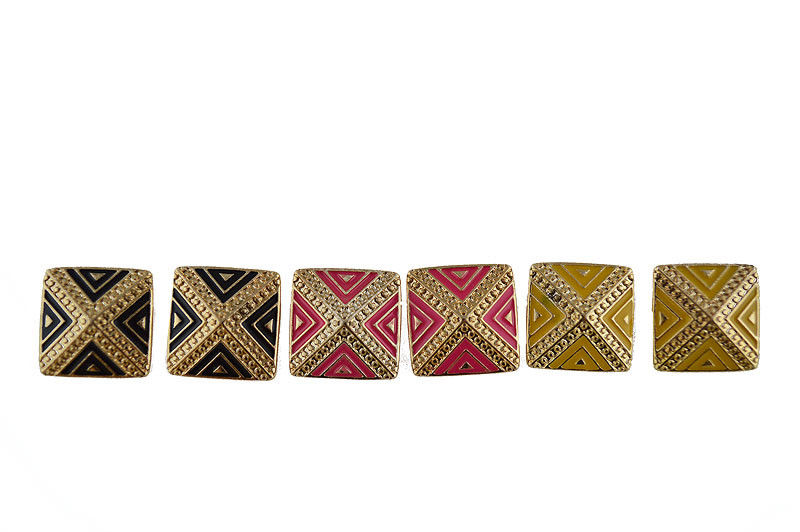 GOLD TONE AZTEC SQUARE EARRINGS - product image