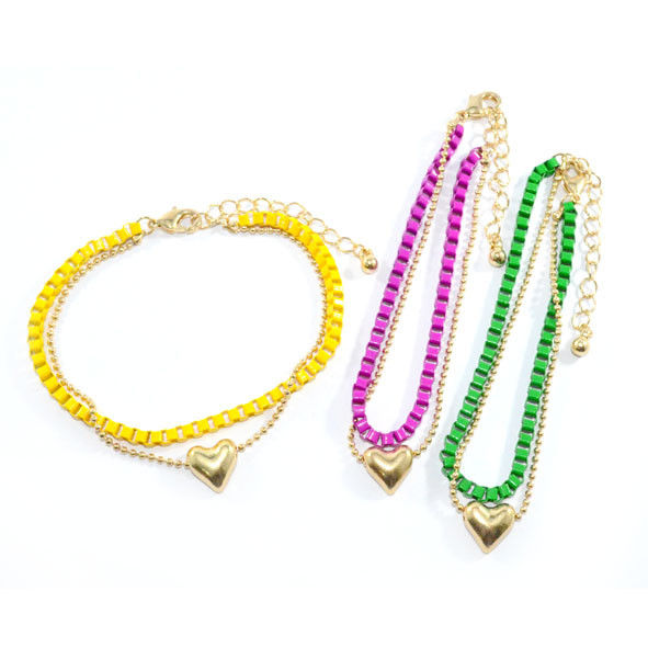 GOLD TONE AND COLOUR CHAIN WITH HEART BRACELET - product image