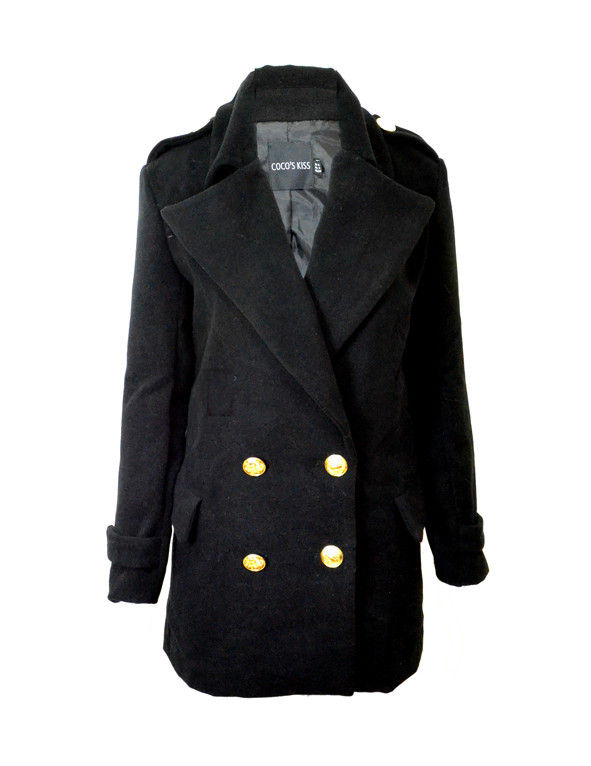 GOLD BUTTON PEA COAT - product image