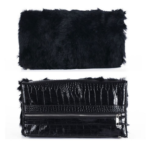 FUR,FOLD,CLUTCH,BAG
